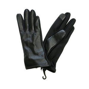 NWT J. CREW Black Leather Gloves L